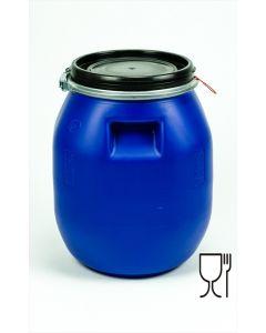 Palettendeckelfass 30 Liter aus Kunststoff rechteckig, palettierbar, Griffmulden, lebensmittelecht