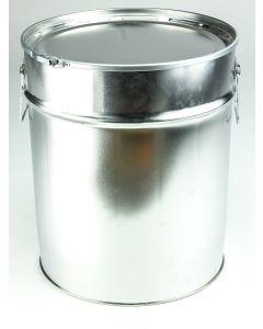 30 Liter Hobbock, Weißblech, blank Deckel mit Gummidichtung und Spannring, Splint