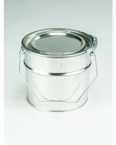 2,5 Liter UN Eindrückdeckeleimer, Weißblech, blank Deckel und Spannring, Splint