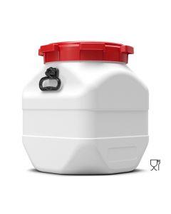 Weithalsfass 50 Liter quadratisch aus Kunststoff mit Schraubdeckel und Handgriffen