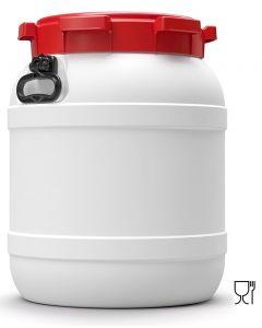 Weithalsfass 55 Liter aus Kunststoff mit Schraubdeckel und Handgriffen UN 1H2/X66/S/...