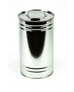 5 Liter UN Rundkanne, Weißblech, blank, inkl. Ausgießer