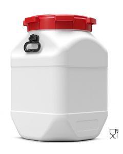Weithalsfass 66 Liter quadratisch aus Kunststoff mit Schraubdeckel und Handgriffen