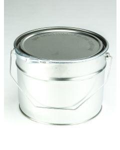 6 Liter UN Eindrückdeckeleimer, Weißblech, blank Deckel mit Gummidichtung und Spannring, Splint