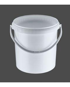 Druckdeckeleimer 10 Liter aus Kunststoff, rund, weiß mit Kunststoffbügel, inkl. wasserdichten Deckel