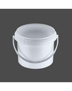 Druckdeckeleimer 1,8 Liter aus Kunststoff, rund, weiß mit Kunststoffbügel, inkl. wasserdichten Deckel