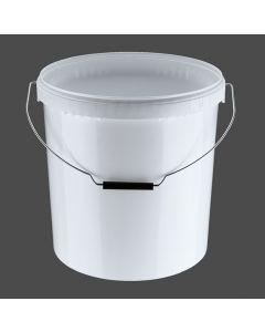 Druckdeckeleimer 20 Liter aus Kunststoff, rund, weiß mit Metallbügel + Griffrolle, inkl. wasserdichten Deckel