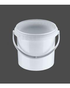 Druckdeckeleimer 2,5 Liter aus Kunststoff, rund, weiß mit Kunststoffbügel, inkl. wasserdichten Deckel
