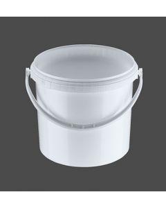 Druckdeckeleimer 5 Liter aus Kunststoff, rund, weiß mit Kunststoffbügel, inkl. wasserdichten Deckel
