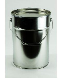 20 Liter Eindrückdeckeleimer, Weißblech, blank, konisch Deckel mit Gummidichtung und Spannring, Splint