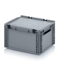 Kunststoff-Eurobehälter mit Deckel,  Abmessung 400 x 300 x 220 mm