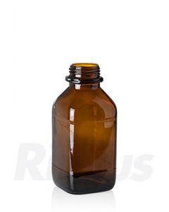 Glasflasche 1000 ml Braunglas, quadratisch, WH Gewinde GL 54, mit Orig.-Verschluss blau (Konus)
