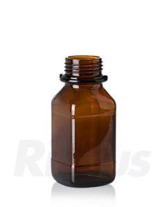 Glasflasche 250 ml, Braunglas, quadratisch, WH Gewinde GL 45, mit Orig.-Verschluss blau (Konus)