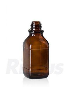 Glasflasche 250 ml Braunglas, quadratisch, EH Gewinde GL 32, mit Orig.-Verschluss blau (Konus)
