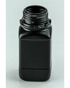 Kunststoff-Flasche 250 ml, schwarz Weithals (ohne Org -Verschluss DIN 45 W, blau)