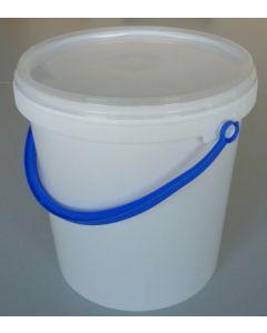 Druckdeckeleimer 6 Liter aus Kunststoff, rund, weiß mit Kunststoffbügel blau, inkl. wasserdichten Deckel transparent