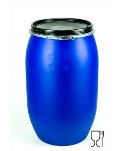Standarddeckelfass 220 Liter aus Kunststoff Farbe: blau, lebensmittelecht