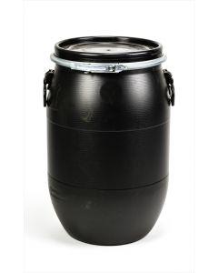 Standarddeckelfass 60 Liter aus Kunststoff (PCR Regenerat) mit Entgasung Farbe: schwarz