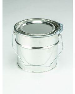 2,5 Liter Eindrückdeckeleimer, Weißblech, blank Deckel mit Weich PVC-Dichtung und Spannring, Splint