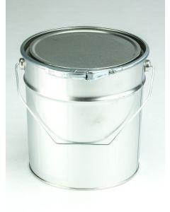 5 Liter Eindrückdeckeleimer, Weißblech, blank, konisch Deckel mit Gummidichtung und Spannring, Splint