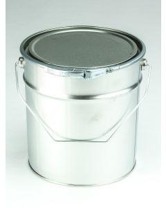 5 Liter UN Eindrückdeckeleimer, Weißblech, blank Deckel mit Gummidichtung und Spannring, Bügel, Splint