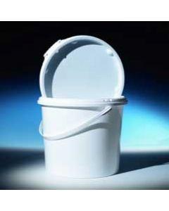 Druckdeckeleimer 10 Liter aus Kunststoff, rund, weiß, inkl. Deckel mit Kunststoffbügel, UN 1H2/Y12/S/...