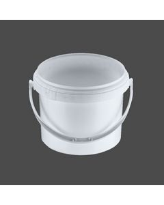 Druckdeckeleimer 1,8 Liter aus Kunststoff, rund, weiß mit Kunststoffbügel, inkl. Deckel