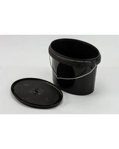 Druckdeckeleimer 3,2 Liter aus Kunststoff, oval, schwarz mit verzinktem Bügel, inkl. Deckel