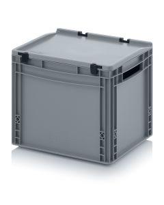 Kunststoff-Eurobehälter mit Deckel,  Abmessung 400 x 300 x 320 mm