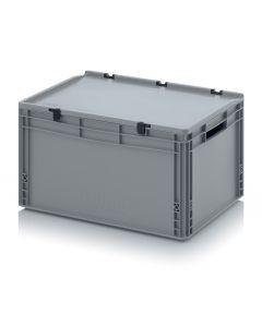 Kunststoff-Eurobehälter mit Deckel,  Abmessung 600 x 400 x 320 mm