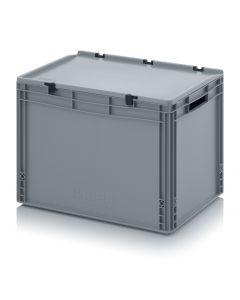 Kunststoff-Eurobehälter mit Deckel,  Abmessung 800 x 600 x 420 mm