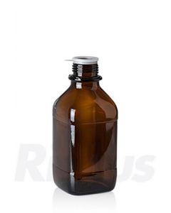 Glasflasche 1000 ml Braunglas, quadratisch, EH Gewinde GL 45, mit Orig.-Verschluss blau (Konus)