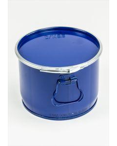 Hobbock 6 Liter aus Stahlblech rund, mit Deckel und Spannring
