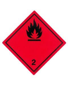 Gefahrzettel Klasse 2.1 / selbstklebendes Papier Entzündbare Gase