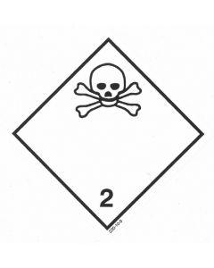 Gefahrzettel Klasse 2.3 / selbstklebendes Papier Giftige Gase