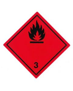 Gefahrzettel Klasse 3 / selbstklebendes Papier Entzündbare flüssige Stoffe