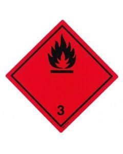 Gefahrzettel Klasse 3 / PE-Haftfolie Entzündbare flüssige Stoffe