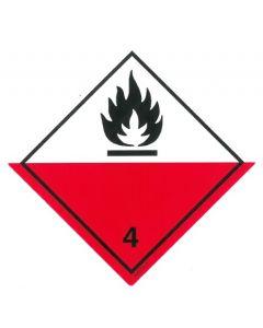 Gefahrzettel  Klasse 4.2 / PE-Haftfolie Selbstentzündliche Stoffe