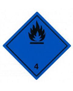 Gefahrzettel  Klasse 4.3 / PE-Haftfolie Stoffe, die in Berührung mit Wasser entzündbare Gase entwickeln