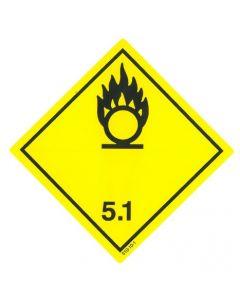 Gefahrzettel  Klasse 5.1 / PE-Haftfolie Entzündend (oxidierend) wirkende Stoffe