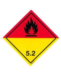 Gefahrzettel  Klasse 5.2 / PE-Haftfolie Organische Peroxide