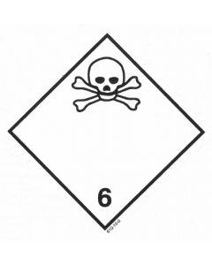 Gefahrzettel Klasse 6.1 / selbstklebendes Papier Giftige Stoffe