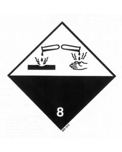 Gefahrzettel Klasse 8 / selbstklebendes Papier Ätzende Stoffe