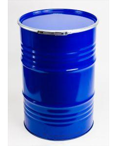 Sickendeckelfass 212 l aus Stahlblech innen roh, außen blau RAL 5010