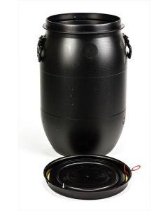 Standarddeckelfass 60 Liter aus Kunststoff mit Entgasung Farbe: schwarz