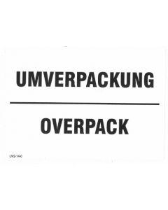 """Aufkleber """"UMVERPACKUNG / OVERPACK"""" / PE-Haftfolie 2-sprachig deutsch/englisch"""