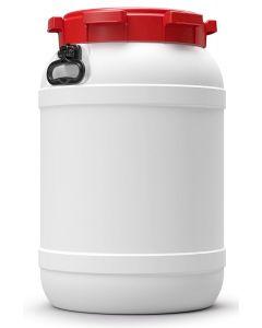 Weithalsfass 68 Liter aus Kunststoff mit Schraubdeckel und Handgriffen UN 1H2/X81/S/...