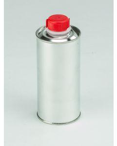 250 ml-Rundflasche Weißblech, blank, Kunststoffverschluss HZ 24/Kisi